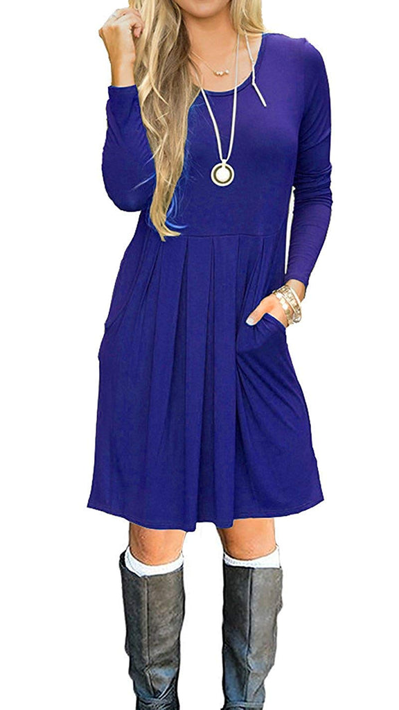 LILBETTER Women's Long Sleeve Pleated Loose Swing Casual Dress with Pockets Knee Length