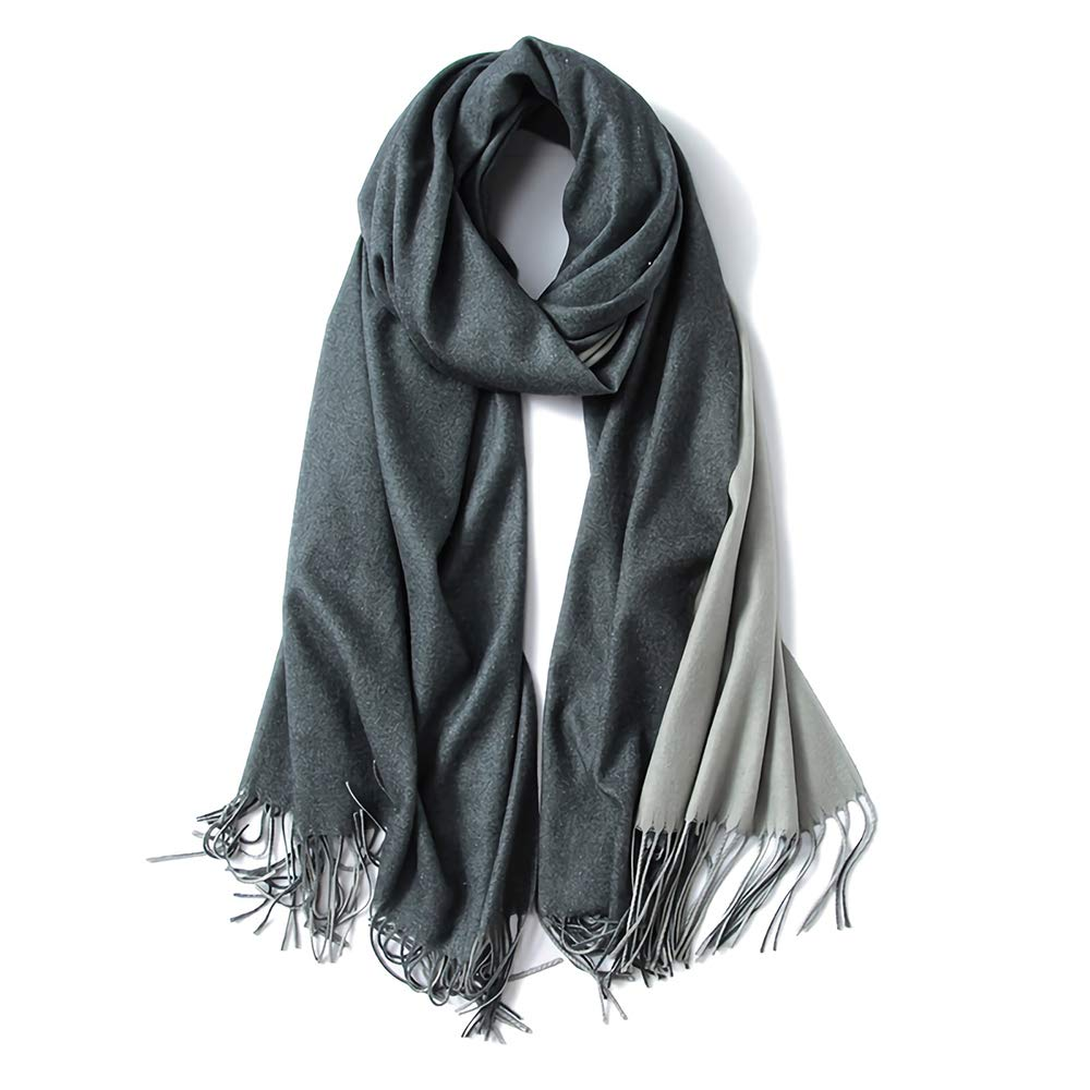 "Cashmere Feel Warm 2 Tone Shawl - Oversized 78""x28"" Wrap Scarf by FORTREE(7 Colors Available)"