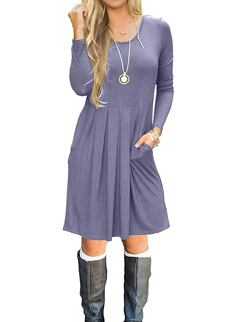 Simier Fariry Women Long Sleeve Pockets Pleated Loose Swing Casual Short T Shirt Dress