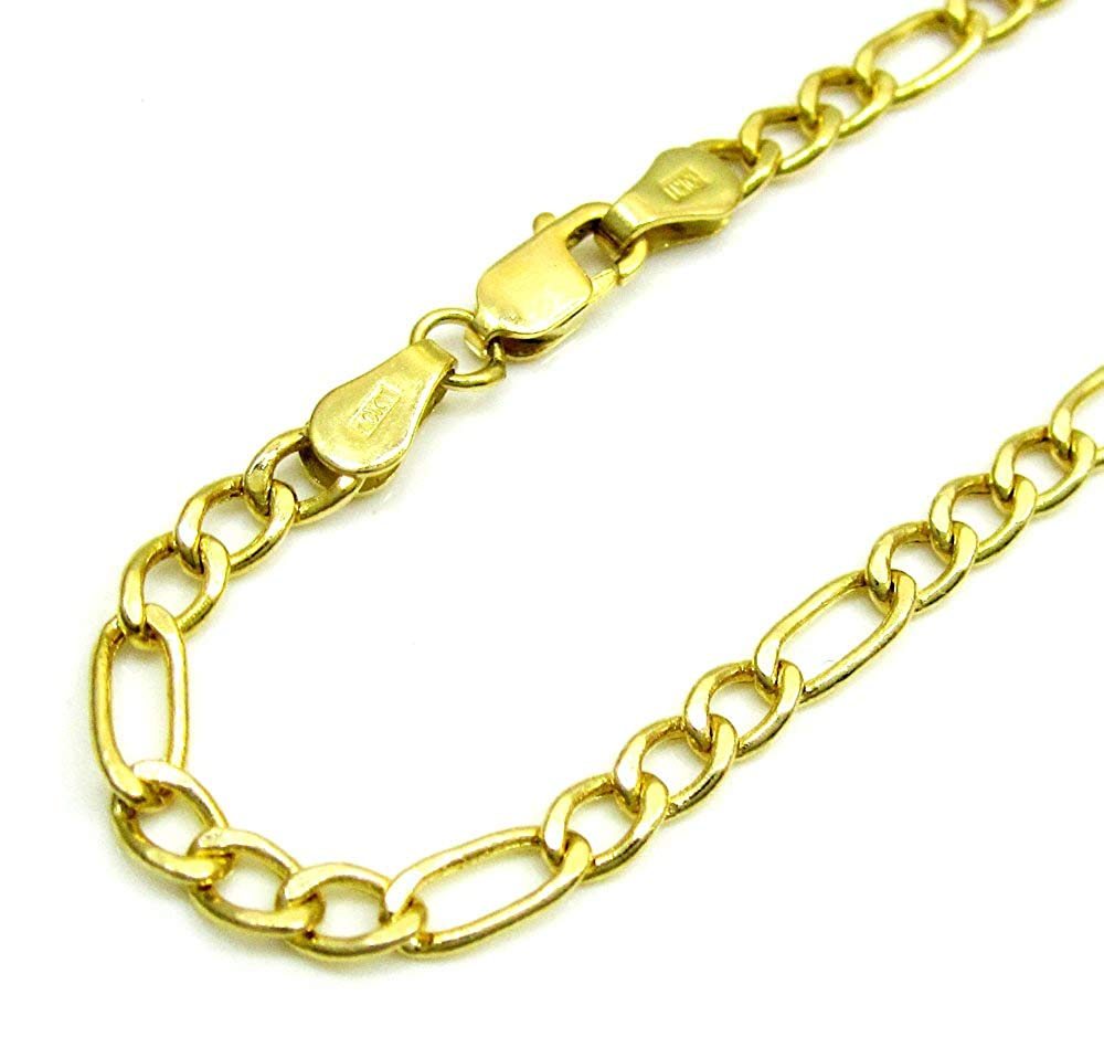 Paradise Jewelers 10K Yellow Gold 7.5mm Figaro Necklace Link Lobster Clasp, 16-24 Inches
