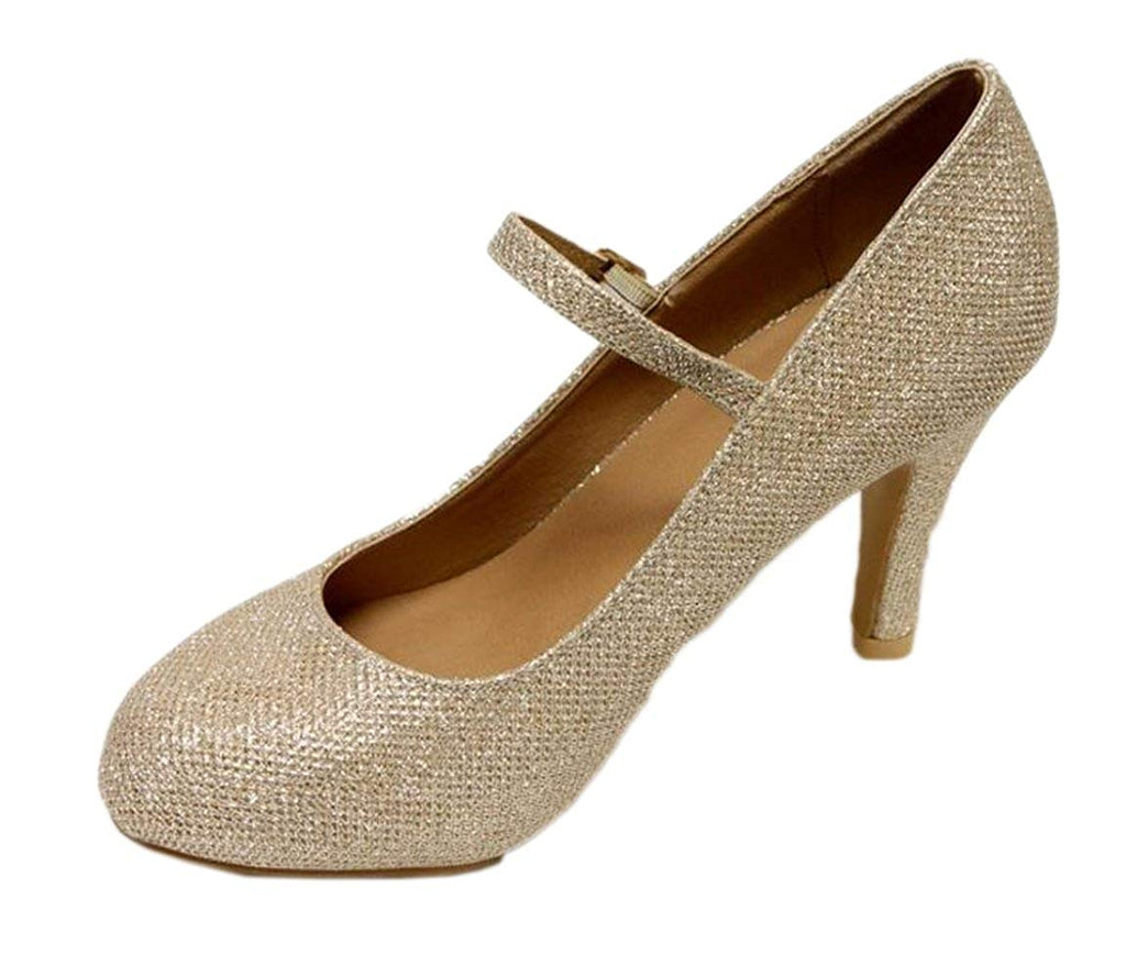 Bella Marie Helena-13 Women's Almond Toe Low Heel Mary Jane Glitter Suede Pumps