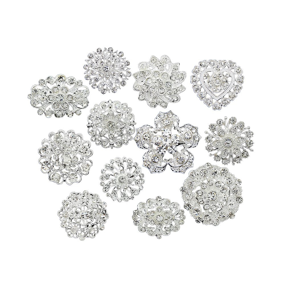Danbihuabi 6 Style 12 Pieces Mixed Imitation Rhinestone Brooches for Women