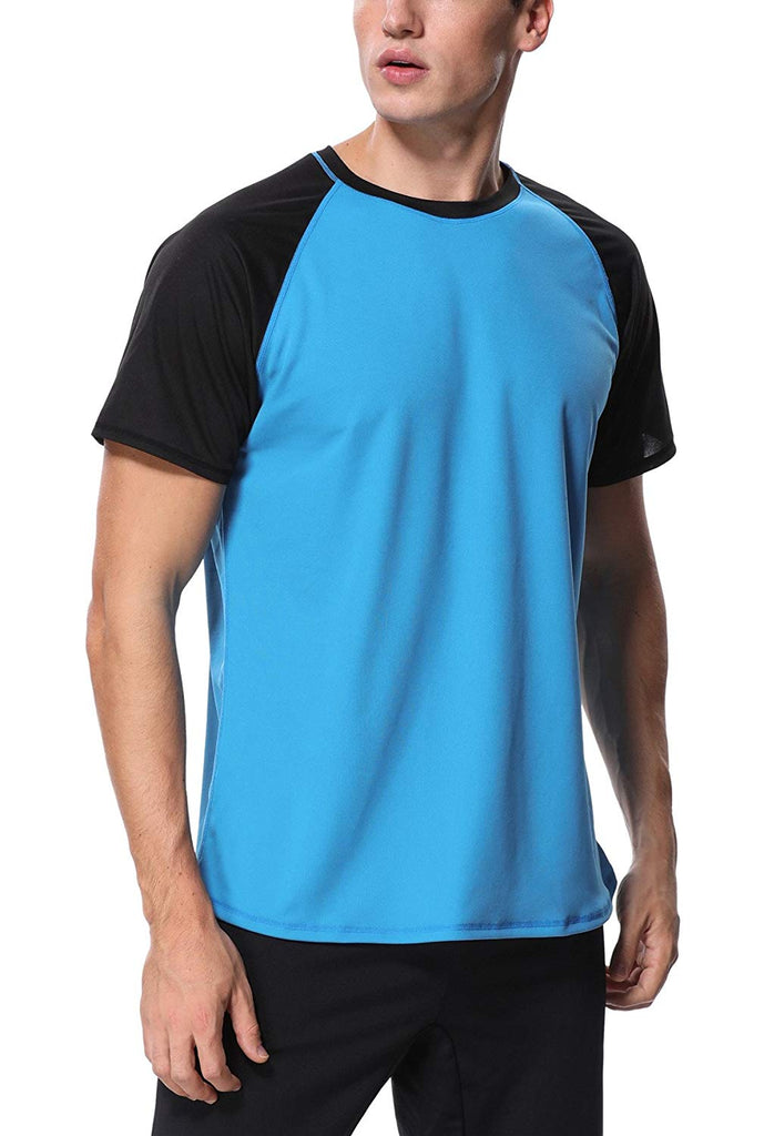 belamo Men's Rashguard UPF 50+ Solid Swim Shirt Short Sleeve