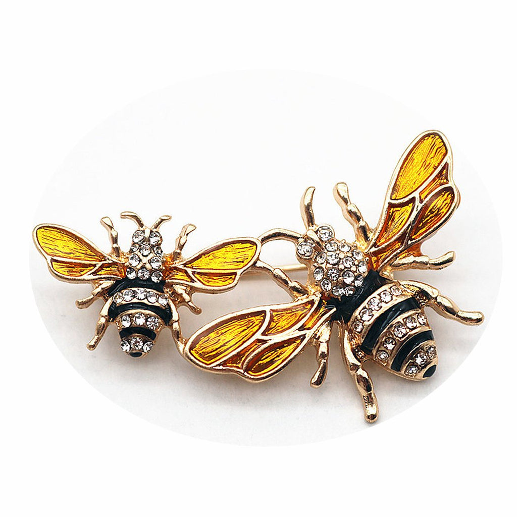Fiery Summer Classics Metal Double Bees Shirt Brooch Novelty Suit and Vest Pin