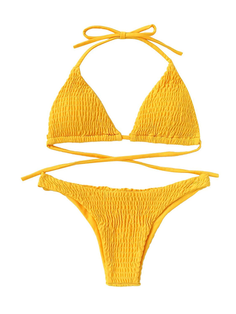 SweatyRocks Women's Sexy Bathing Suit Solid Color Halter Shirred Bikini Swimsuit