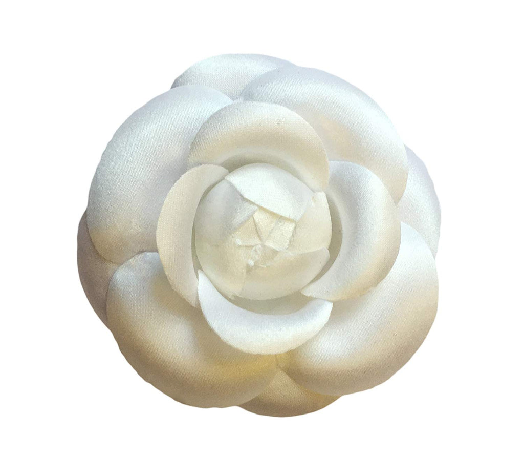 "M&S Schmalberg 3"" Classic Camellia Brooch Pin Silk Fabric Flower Pin White Made in USA"