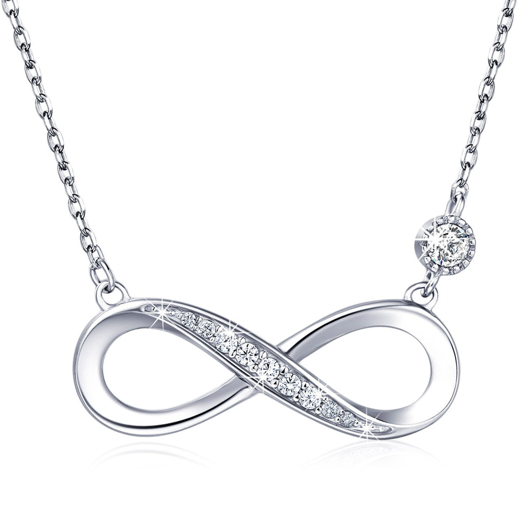 Billie Bijoux 925 Sterling Silver Necklace Forever Love  Infinity Heart Love Pendant White Gold Plated Diamond Women Necklace Gift for Mother's Day
