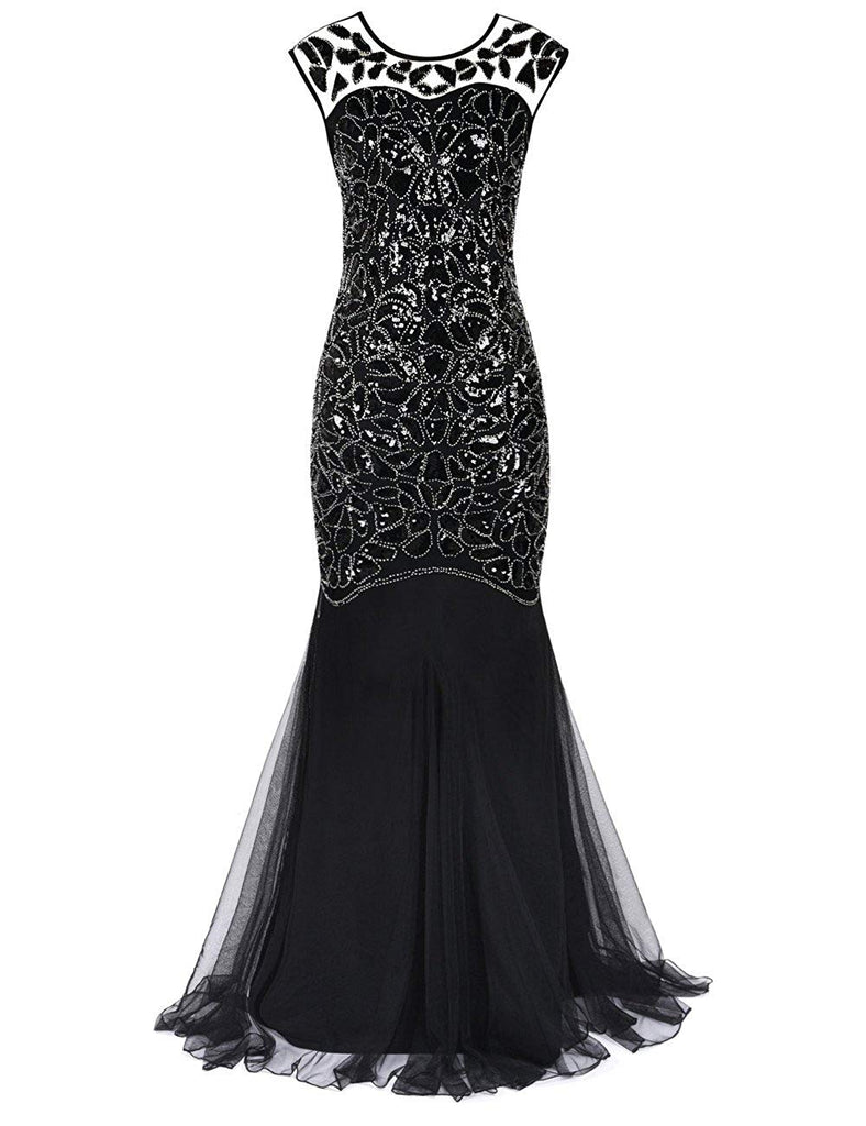PrettyGuide Women 's 1920s Black Sequin Gatsby Maxi Long Evening Prom Dress