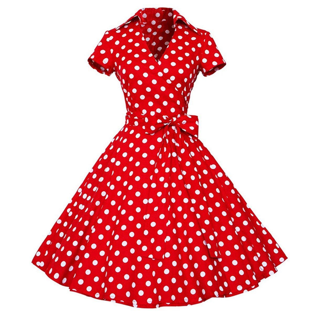 Samtree Womens Polka Dot Dresses,50s Style Short Sleeves Rockabilly Vintage Dress