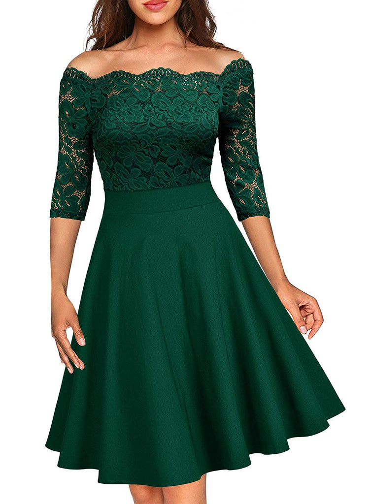 MissMay Women's Vintage Floral Lace Half Sleeve Boat Neck Cocktail Formal Swing Dress