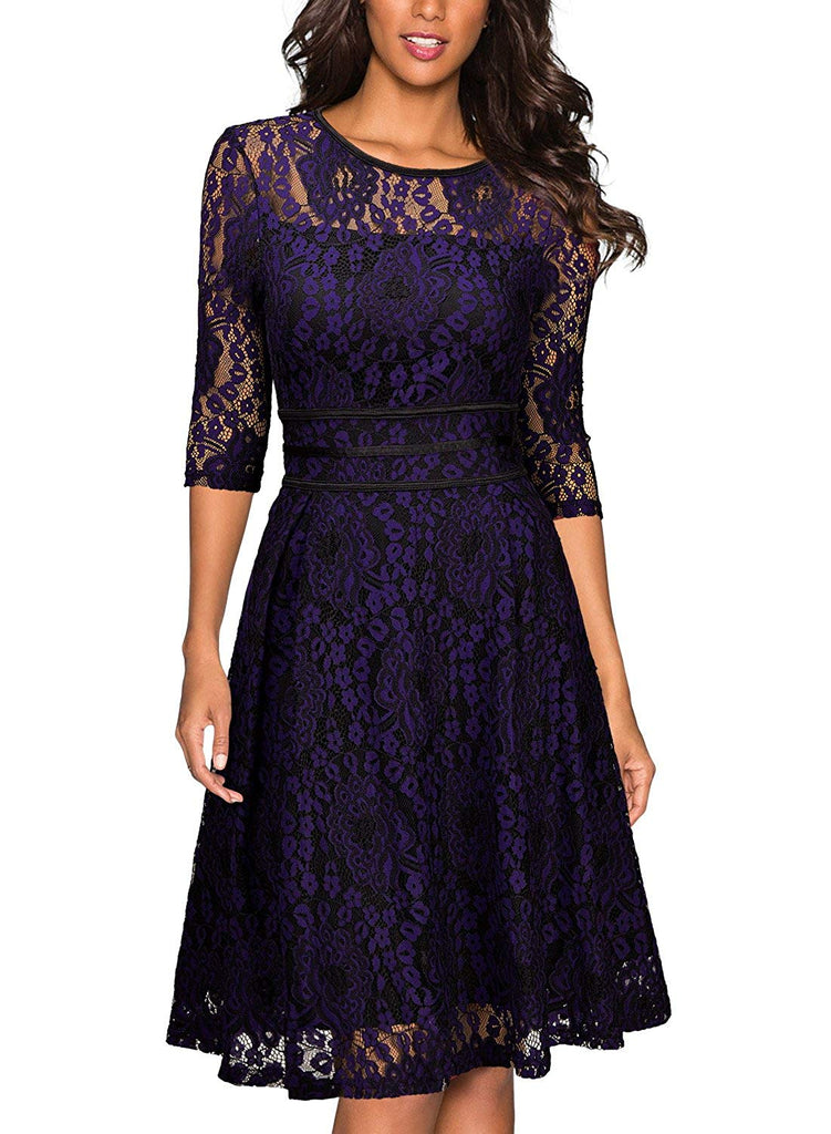Miusol Women's Vintage Floral Lace Cocktail Evening Party Dress