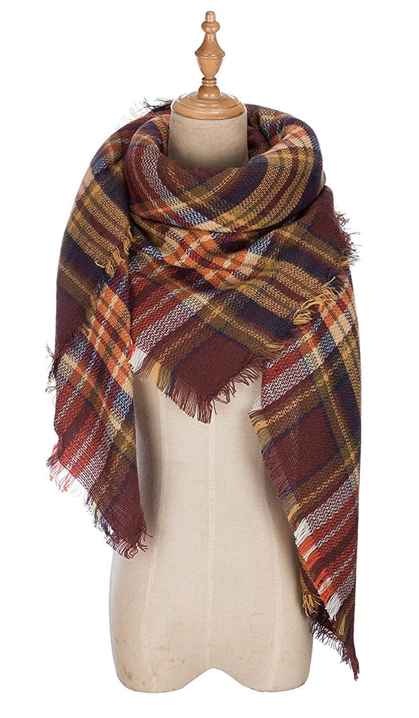 DEARCASE Women's Tassels Soft Plaid Tartan Scarf Winter Large Blanket Wrap Shawl