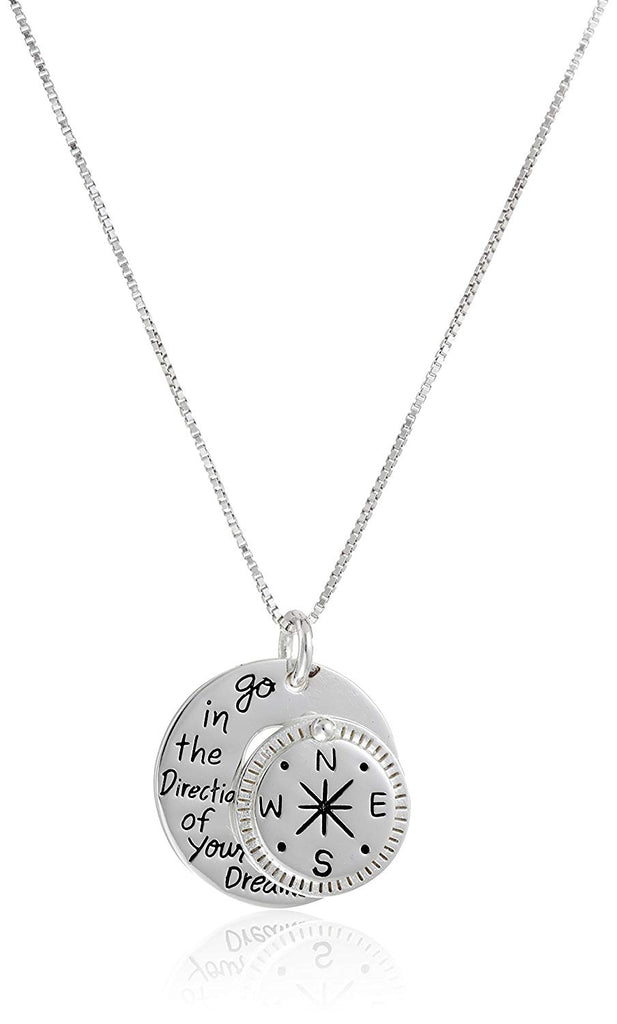 "Sterling Silver ""Go in the Direction Of Your Dreams"" with Compass Pendant Necklace, 18"""