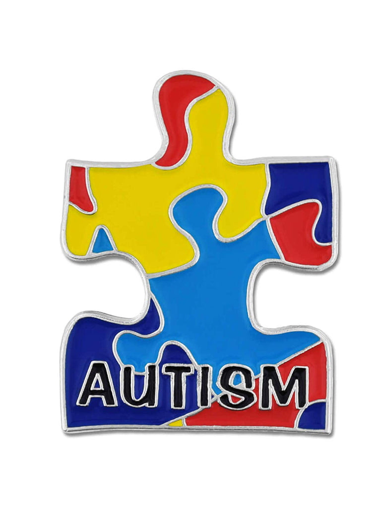 "PinMart Autism Awarness Multi Color Puzzle Piece Enamel Lapel Pin 1"" H x 3/4"" W"