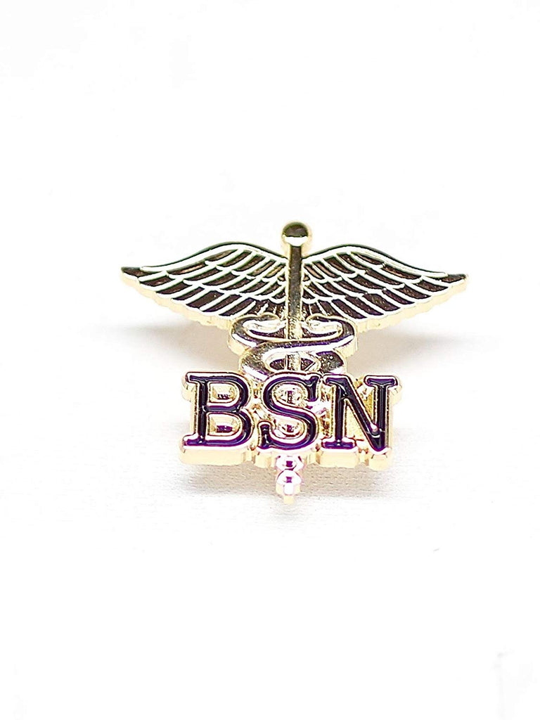 WIZARDPINS BSN Letters on Caduceus Emblem Pin (Bachelors of Science in Nursing)