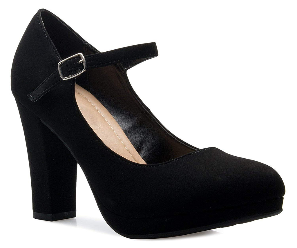 OLIVIA K Women's Mary Jane High Heel - Cute Round Toe Block Heel - Classic Comfortable Easy Dress Shoe