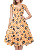 OTEN Women's Polka Dot Sugar Skull Vintage Swing Retro Rockabilly Cocktail Party Dress Cap Sleeve