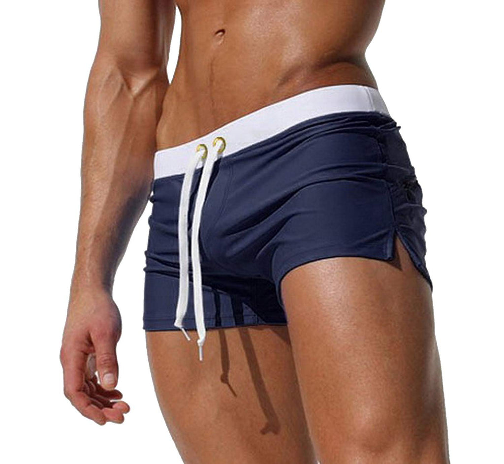 SALENT Men's Swim Tunks Swimming Briefs Swimwear Swimsuit Surf Shorts with Pockets