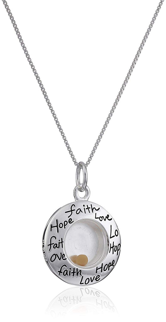 "Sterling Silver ""Faith Hope Love"" Floating Mustard Seed Circle Pendant Necklace, 18"""