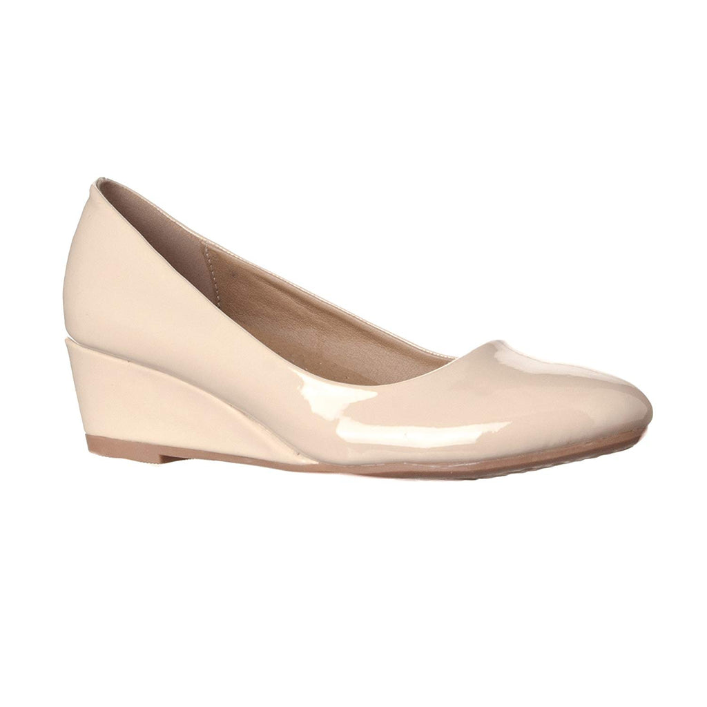 Riverberry Women's Alice Low-Height Round Toe Wedge Pumps