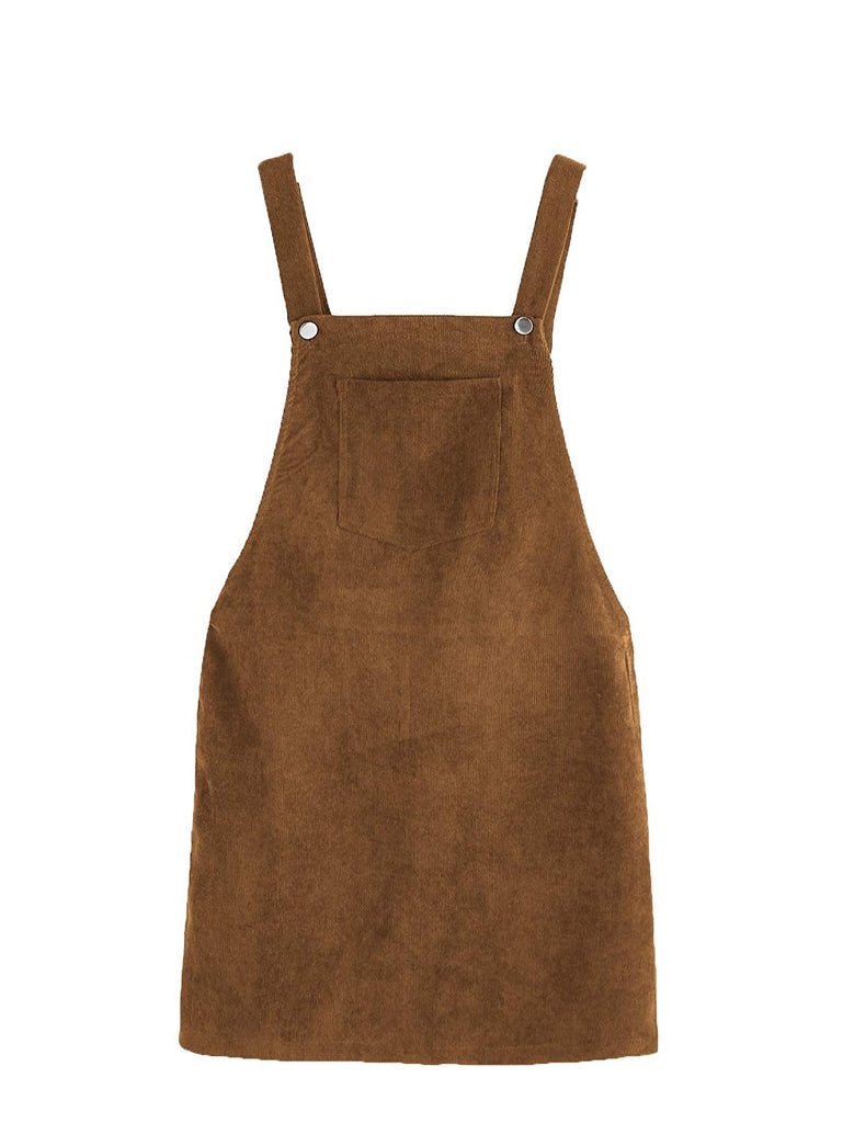 Romwe Women's Straps A-line Corduroy Pinafore Bib Pocket Overall Dress