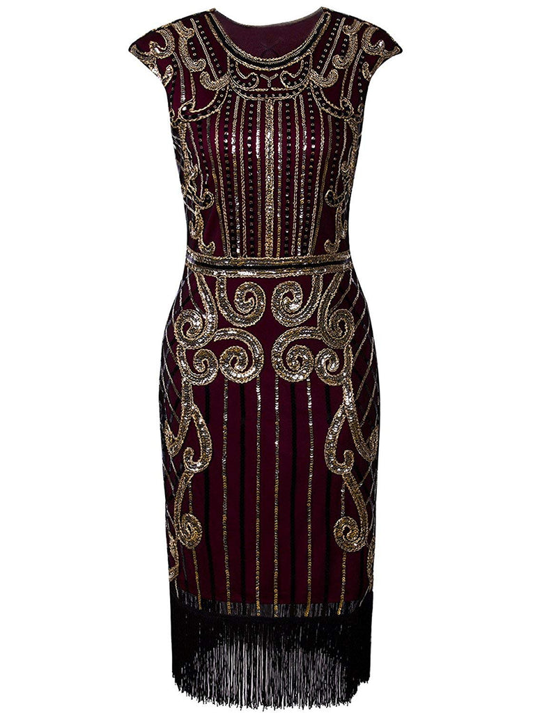 Vijiv 1920s Vintage Inspired Sequin Embellished Fringe Long Gatsby Flapper Dress