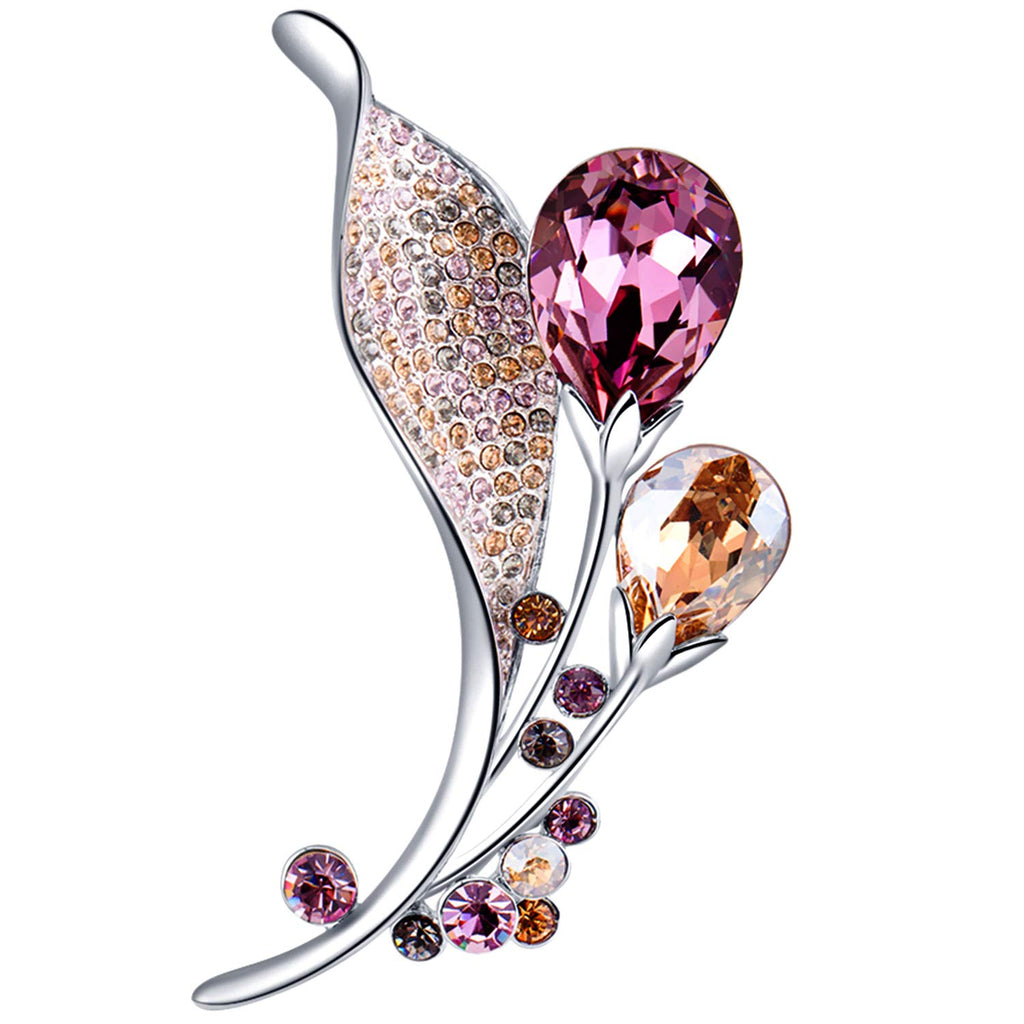 RAINBOW BOX Brooch Pins for Women, Tear Drop Crystals from Swarovski Jewelry Valentine Day Birthday Gifts for Her