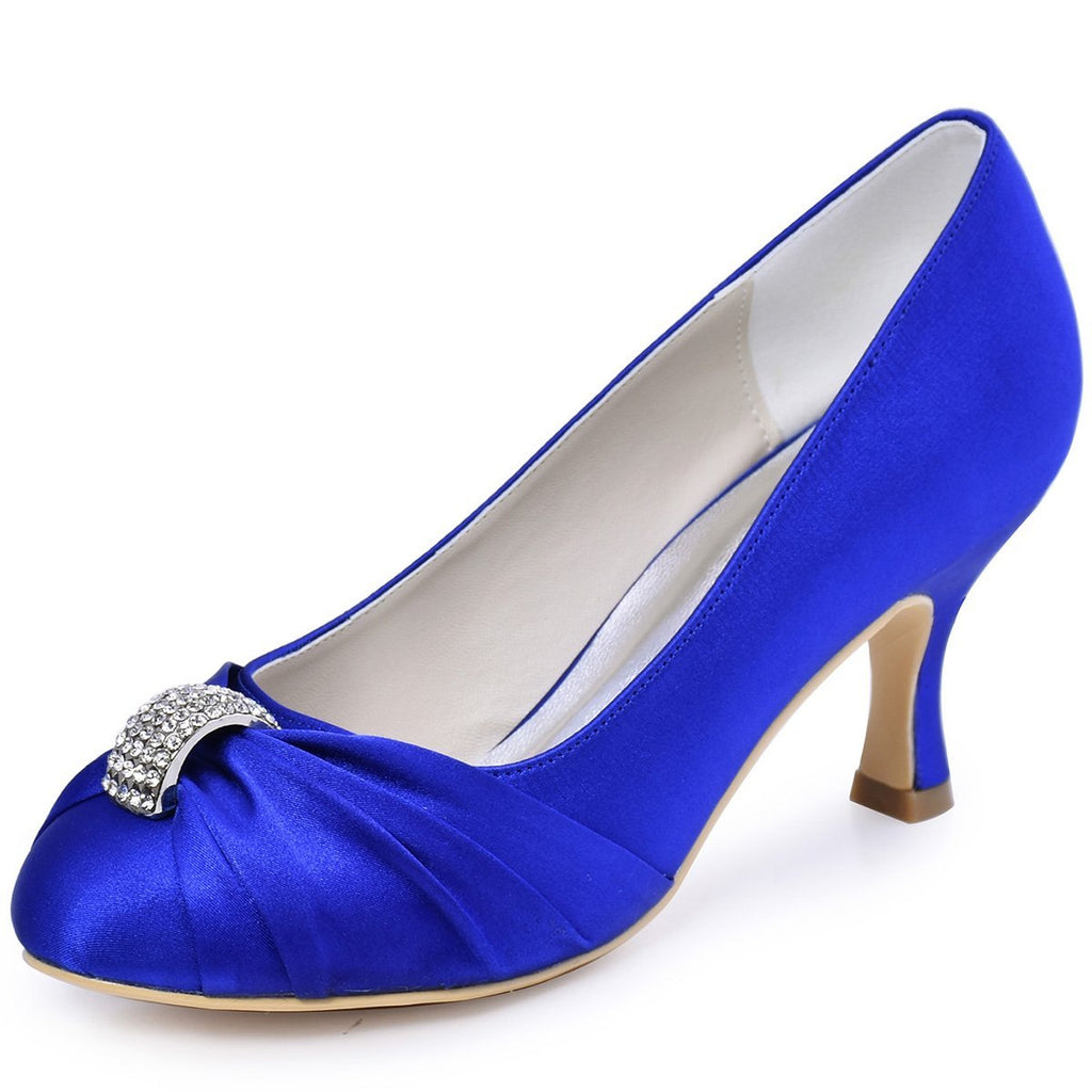 ElegantPark Women Pumps Mid Heel Closed Toe Brooch Ruched Satin Evening Prom Wedding Shoes