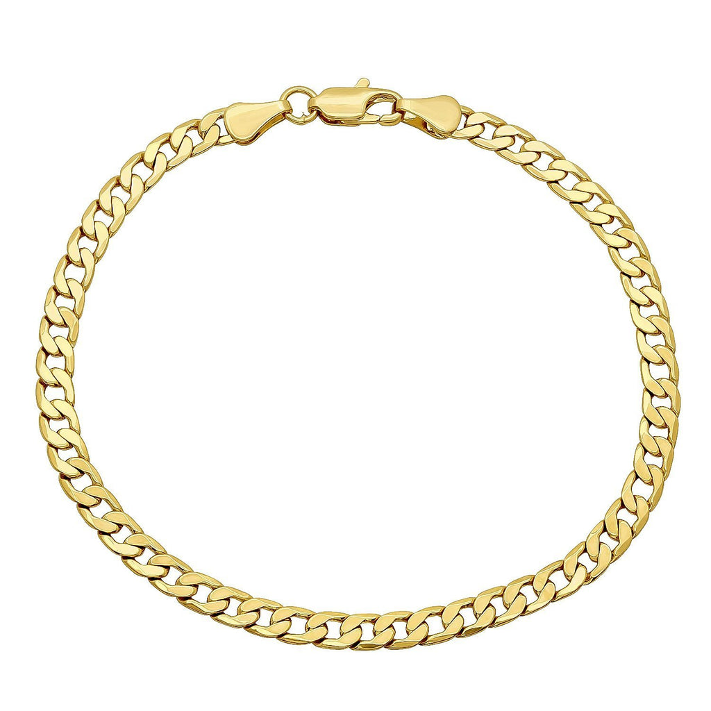 14K Solid Yellow Gold 3.8mm Cuban Curb Link Chain Necklace- Lobster Claw Clasp