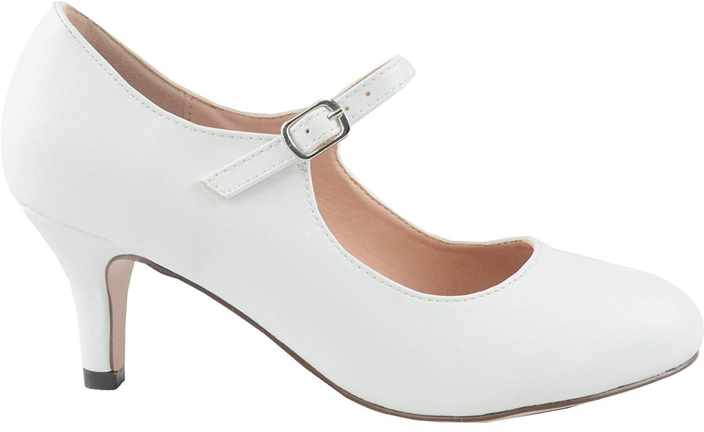 Chase & Chloe Kona-2 Women's Round Toe Mid Heel Mary Jane Pump