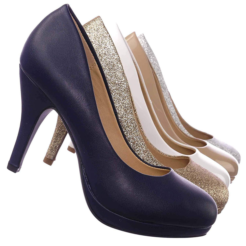 Comfortable Foam Pad Round Toe Classic High Heel Pump, Wedding Office Shoe