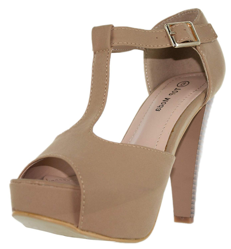 Top Moda Table-1 Women's peep toe platform chunky heel buckle T-strap nubuck pumps
