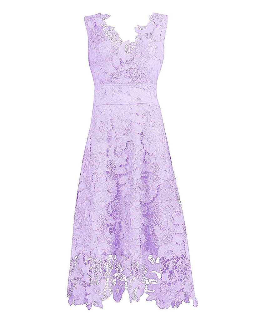KIMILILY Women's V Neck Elegant Floral Lace Swing Bridesmaid Dress