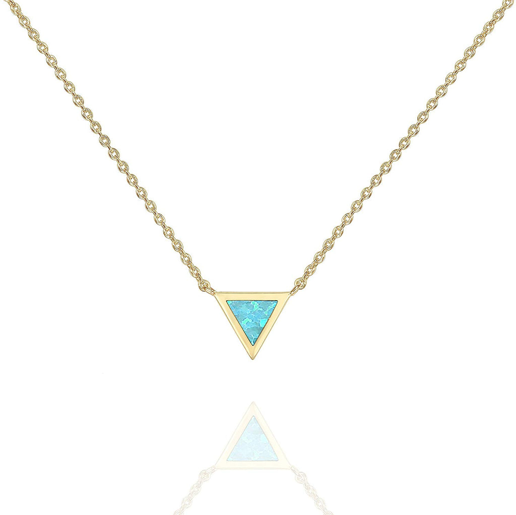 PAVOI 14K Gold Plated Triangle Bezel Set Pink/White/Green/Blue Created Opal Necklace 16-18""