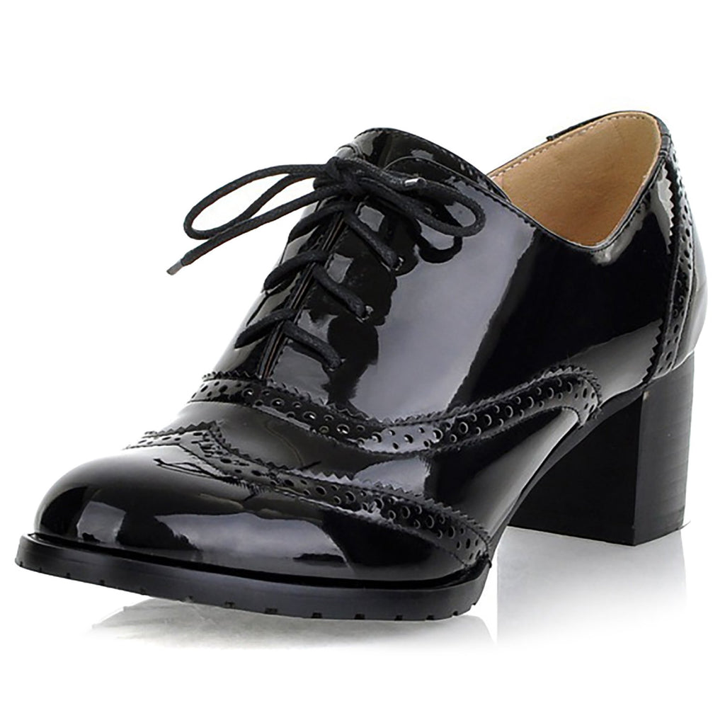 Odema Womens PU Patent Leather Oxfords Brogue Wingtip Lace Up Chunky High Heel Shoes Dress Pumps Oxfords