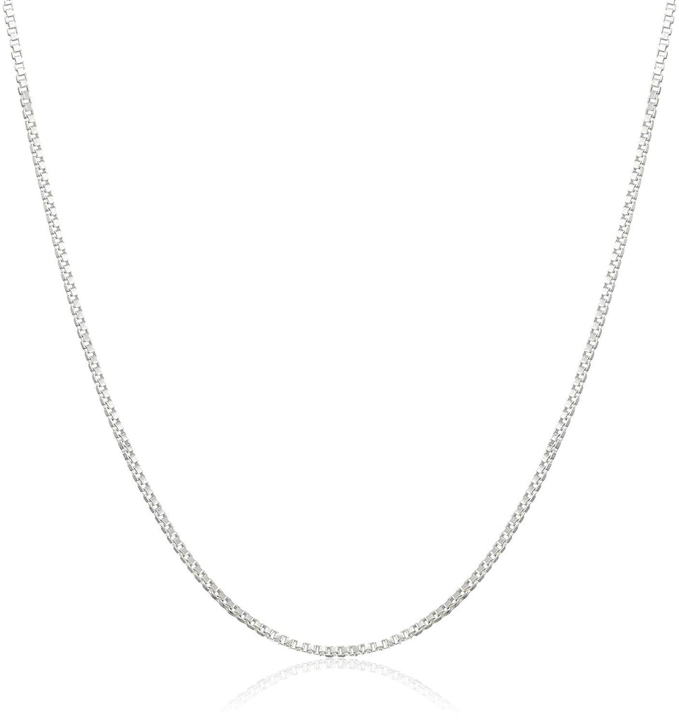 "925 Sterling Silver .8MM Box Chain - Italian Necklace - Super Thin & Strong - FREE Gift w/Order 16"" - 30"""