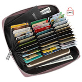 Women 36 Slots RFID Blocking Card Holder Large Long Leather Zipper Checkbook Accordion Wallet