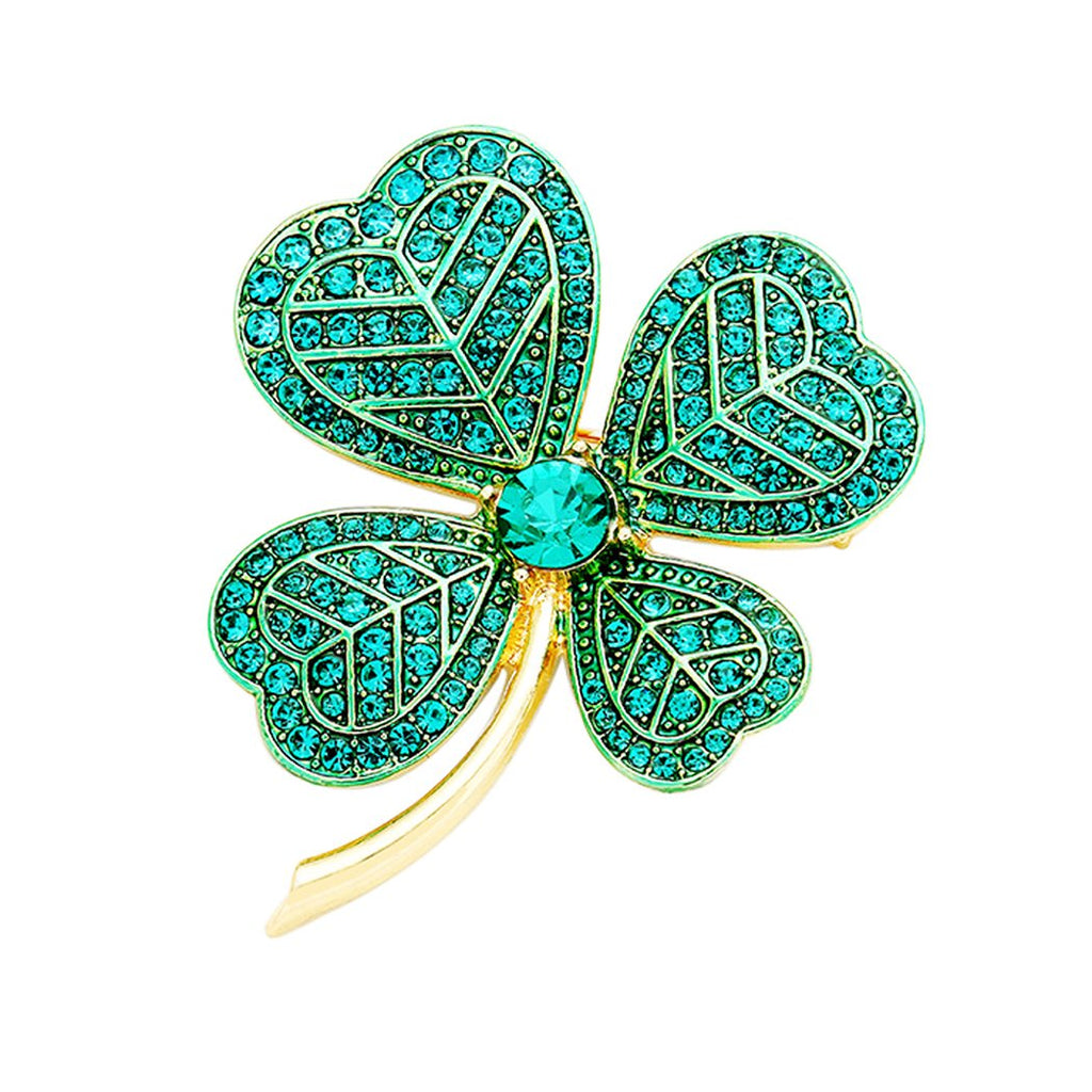 Rosemarie Collections Women's St. Patrick's Day Lucky Irish Four Leaf Clover Pin Brooch