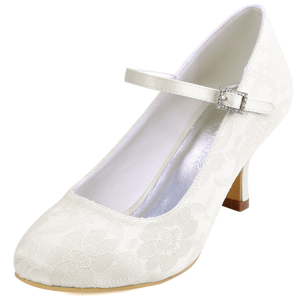 ElegantPark Women Mary Jane Pumps Closed Toe Mid Heel Lace Wedding Bridal Shoes
