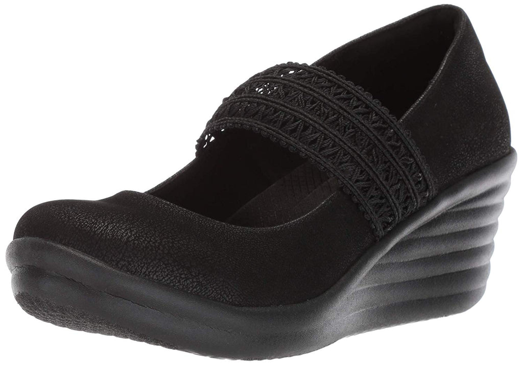 Skechers Women's Rumbler Wave-Crochet Strap Mary Jane Wedge Pump