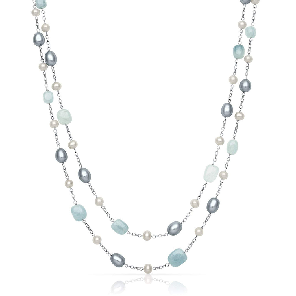 Natural Aquamarine & Cultured Freshwater Pearl Layered Station Chain Necklace