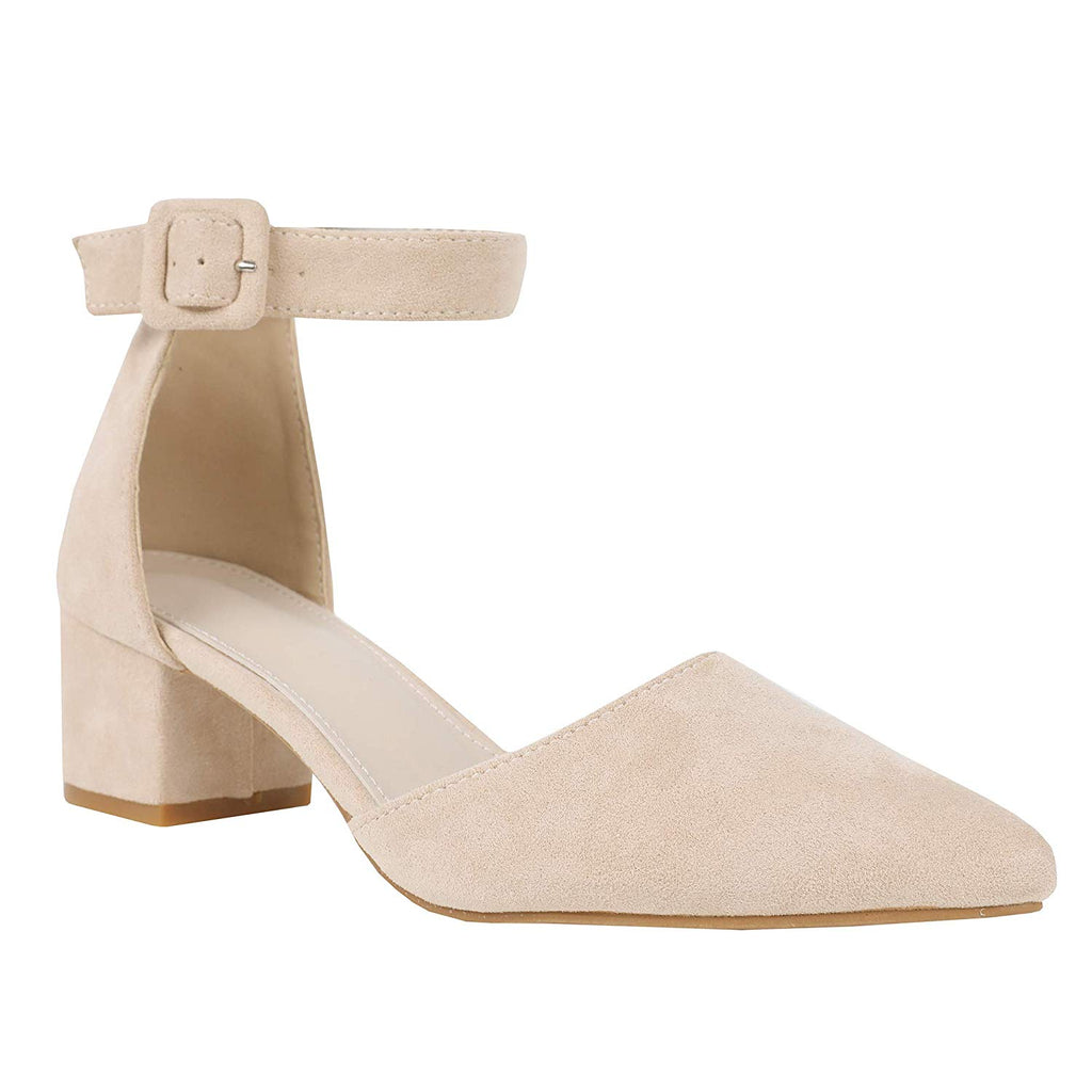 Womens High Heel Pumps Ankle Strap Pointed Toe Chunky Block Mid Heel Suede Shoes