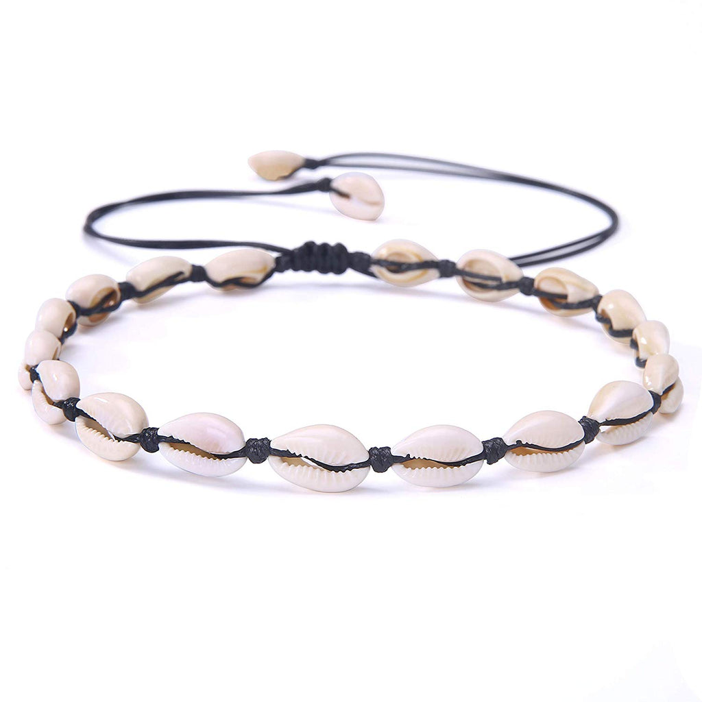 POTESSA Natural Shell Beads Handmade Hawaii Wakiki Beach Choker Adjustable for Girls Ladies