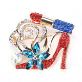 Lip Stick and High Heel Brooch for Women's Fashion Crystal Brooch Pin