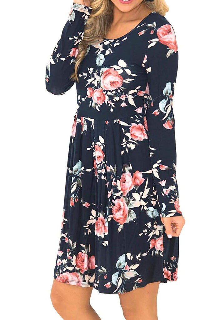 Simier Fariry Women Long Sleeve Floral Print Pocket Pleated Casual T Shirt Dress