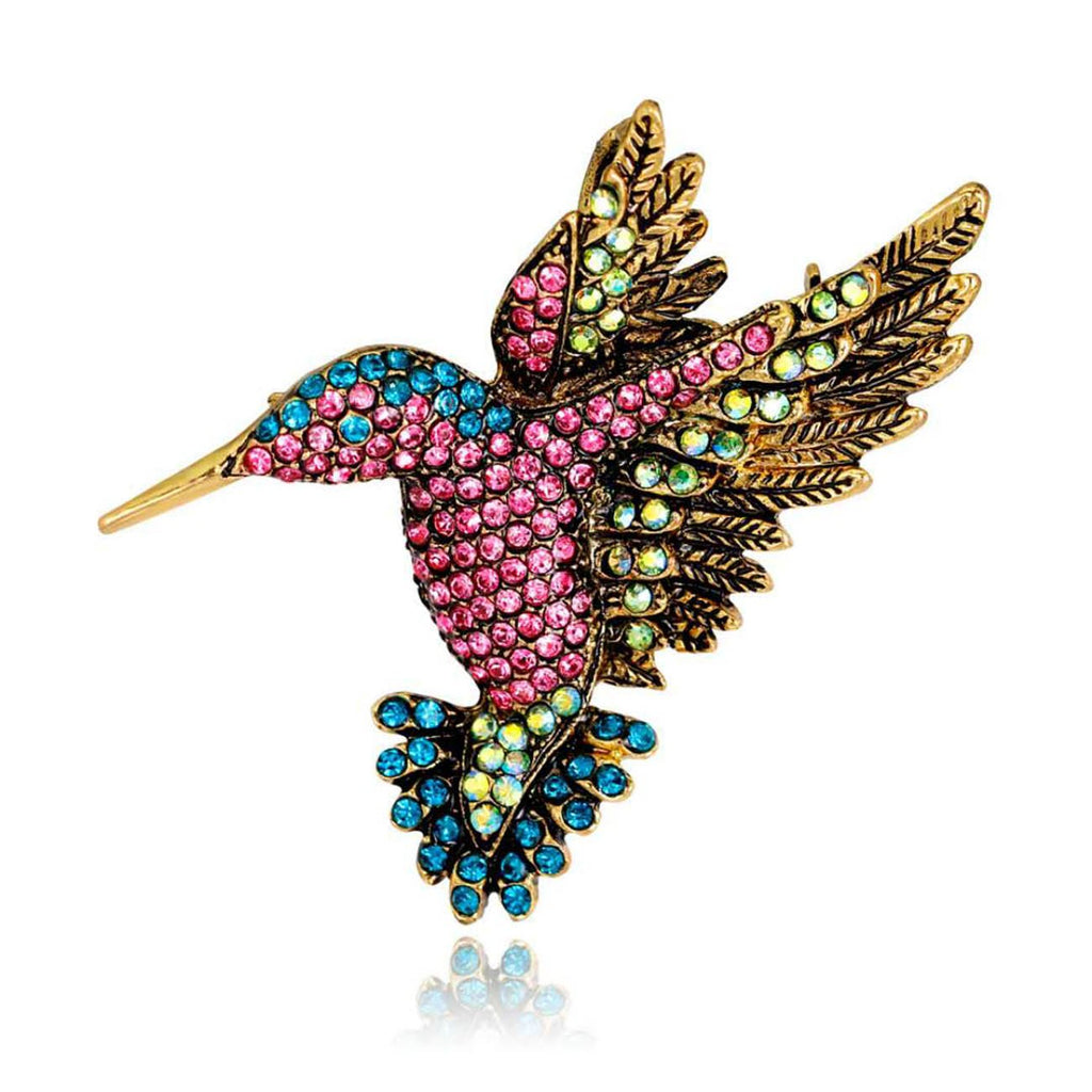 Antique Hummingbird Brooches Vintage Crystal Tone Bird Brooch Pins for Women