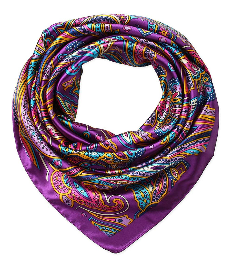 "100% Polyester Silk Feeling 35"" Kerchief Neck Scarf for Women by corciova"