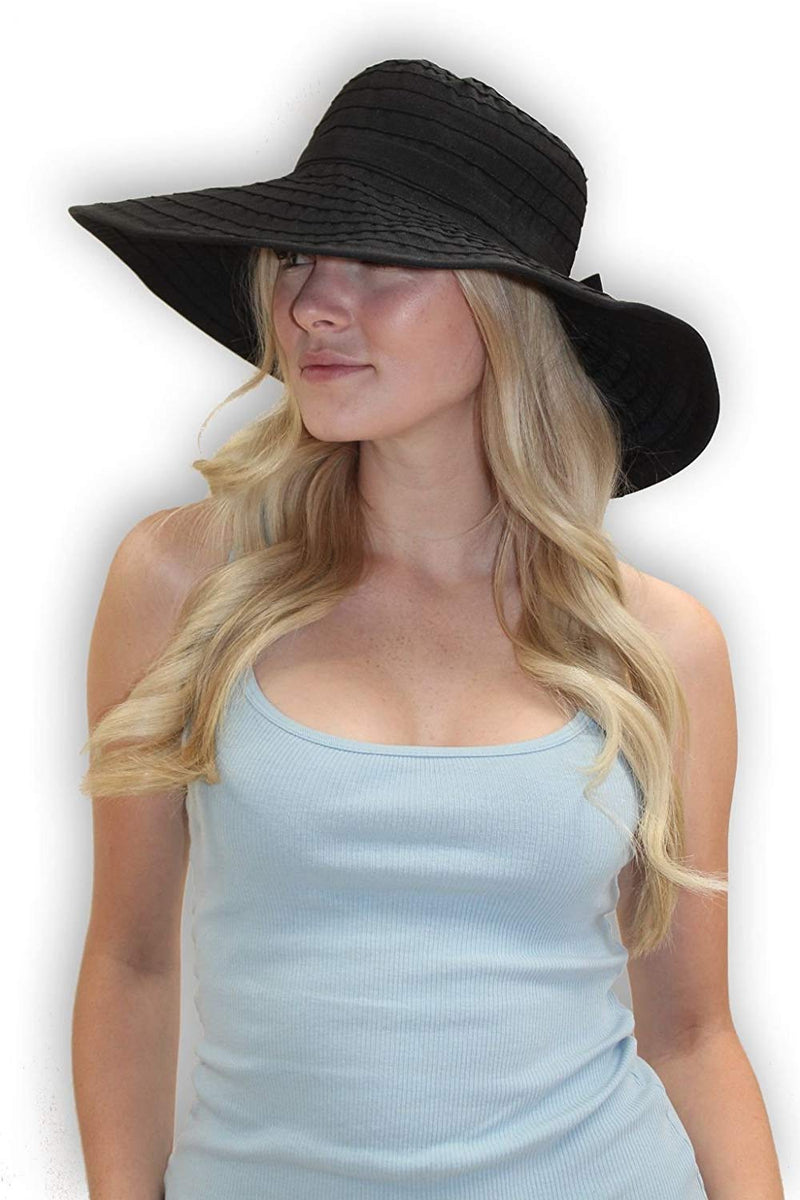 112aa6d8 sungrubbies Women's Wide Brim Packable Sun Travel Hat for Large Heads -  Ginger White ...