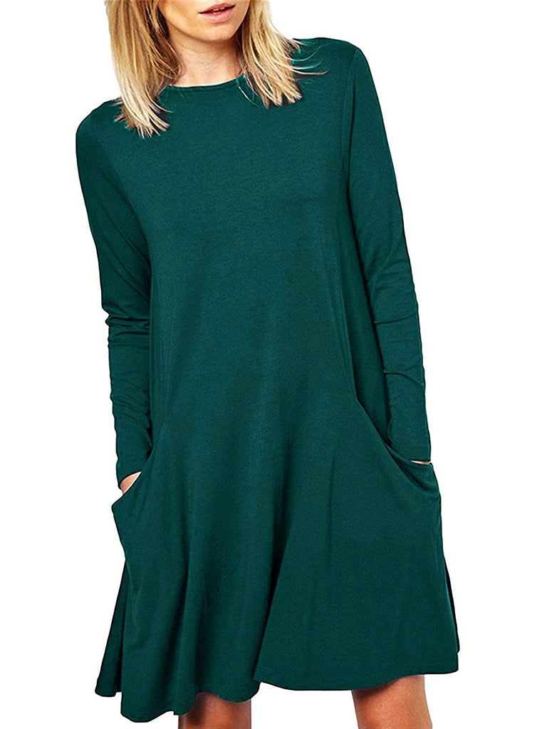Women's Casual Pockets Plain Flowy Simple Swing Tunic Loose Dress