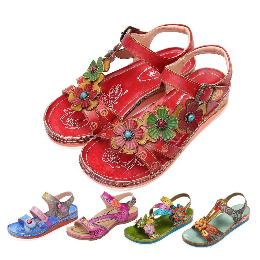 gracosy Leather Sandals for Women, Summer Flat Sandals Colorful Flower Splicing Dress Shoes Slippers Handmade Slip on
